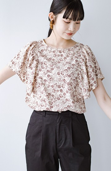 haco! すぽんと着るだけ簡単!見た目も気分も華やぐ花柄&フリルのプルオーバーブラウス <アイボリー>の商品写真
