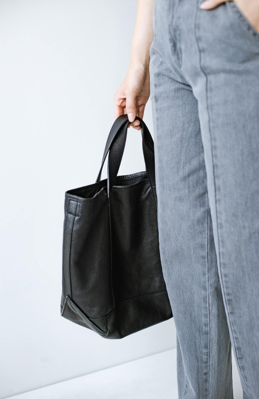 haco! made in JAPAN の本革トートバッグ by que made me <ブラック>の商品写真10