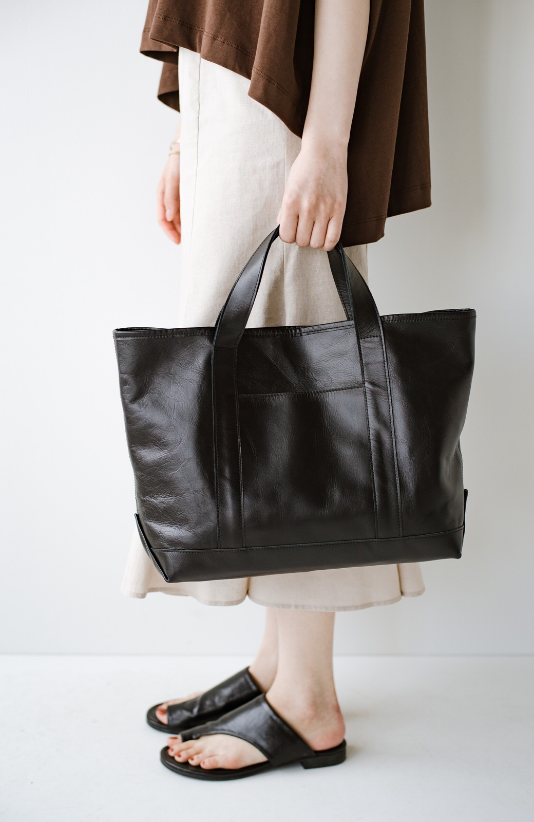 haco! made in JAPAN の本革トートバッグ by que made me <ブラック>の商品写真7