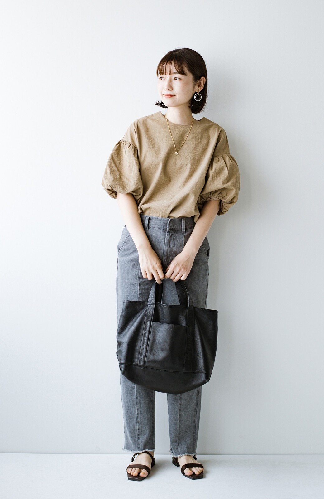 haco! made in JAPAN の本革トートバッグ by que made me <ブラック>の商品写真12