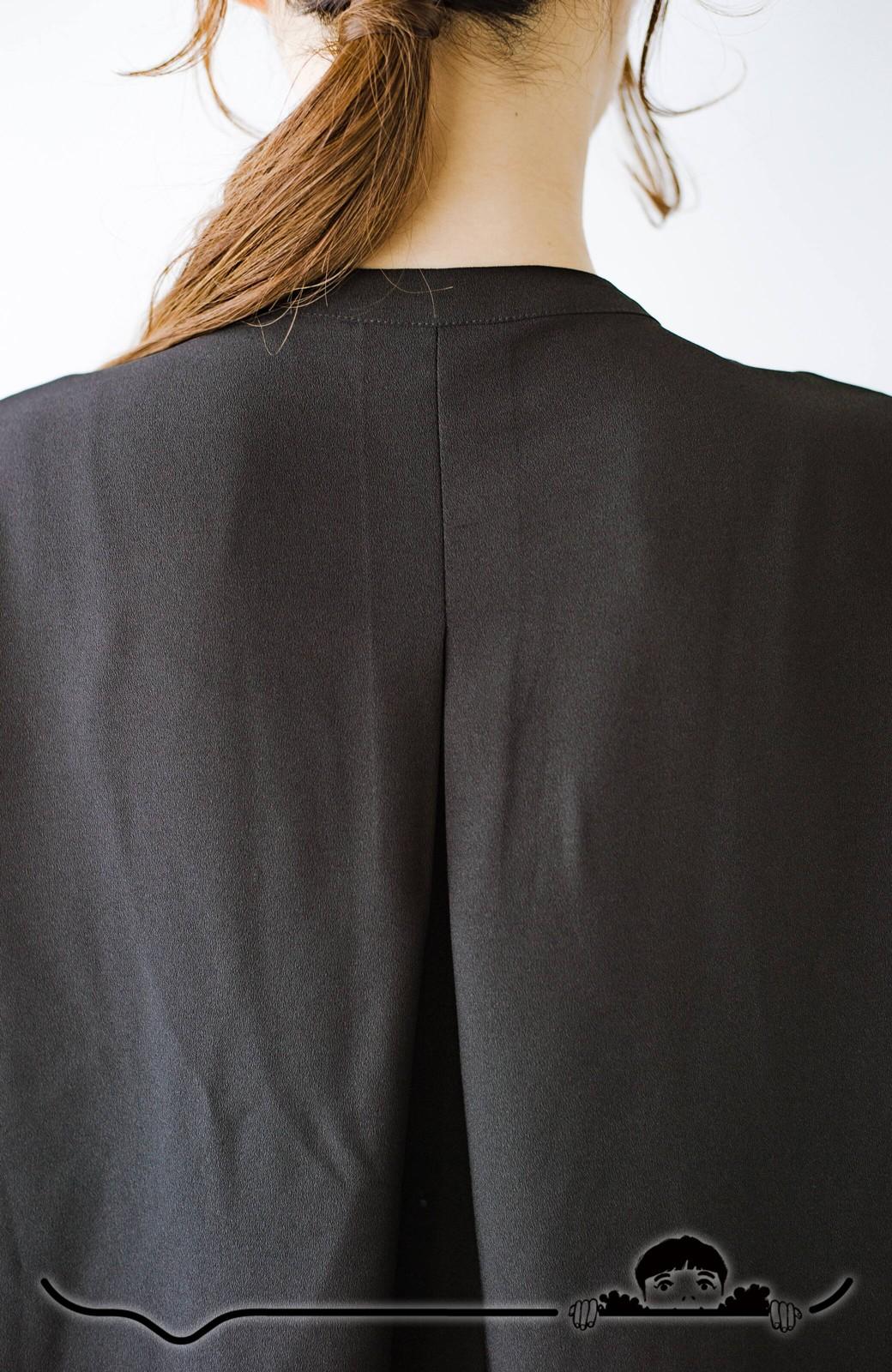haco! Tシャツの代わりにこれを着といたら女っぽく上品になれる!ほんのり透け感が今っぽいピンタックブラウスby who made me <ブラック>の商品写真7