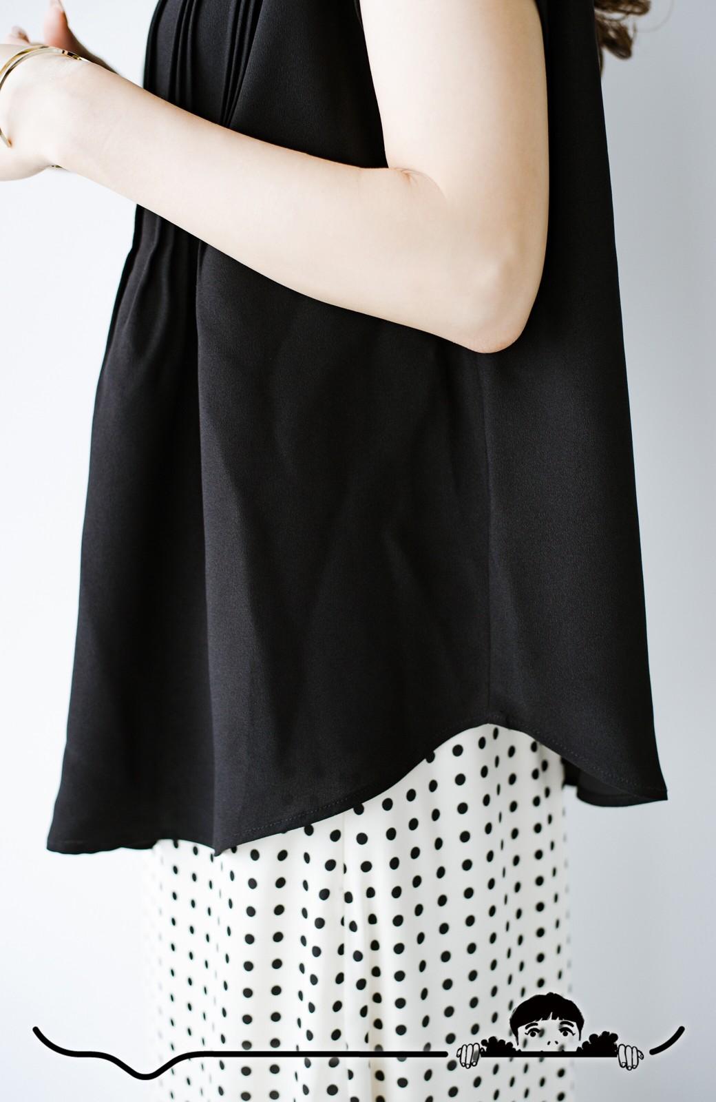 haco! Tシャツの代わりにこれを着といたら女っぽく上品になれる!ほんのり透け感が今っぽいピンタックブラウスby who made me <ブラック>の商品写真9