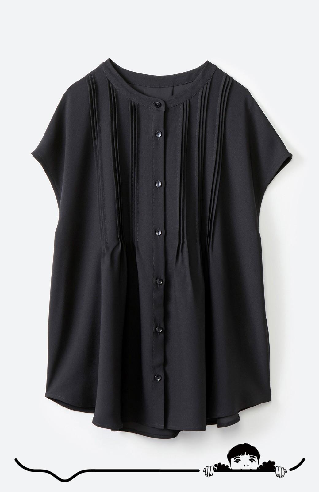 haco! Tシャツの代わりにこれを着といたら女っぽく上品になれる!ほんのり透け感が今っぽいピンタックブラウスby who made me <ブラック>の商品写真12