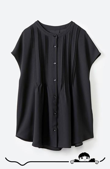 haco! Tシャツの代わりにこれを着といたら女っぽく上品になれる!ほんのり透け感が今っぽいピンタックブラウスby who made me <ブラック>の商品写真
