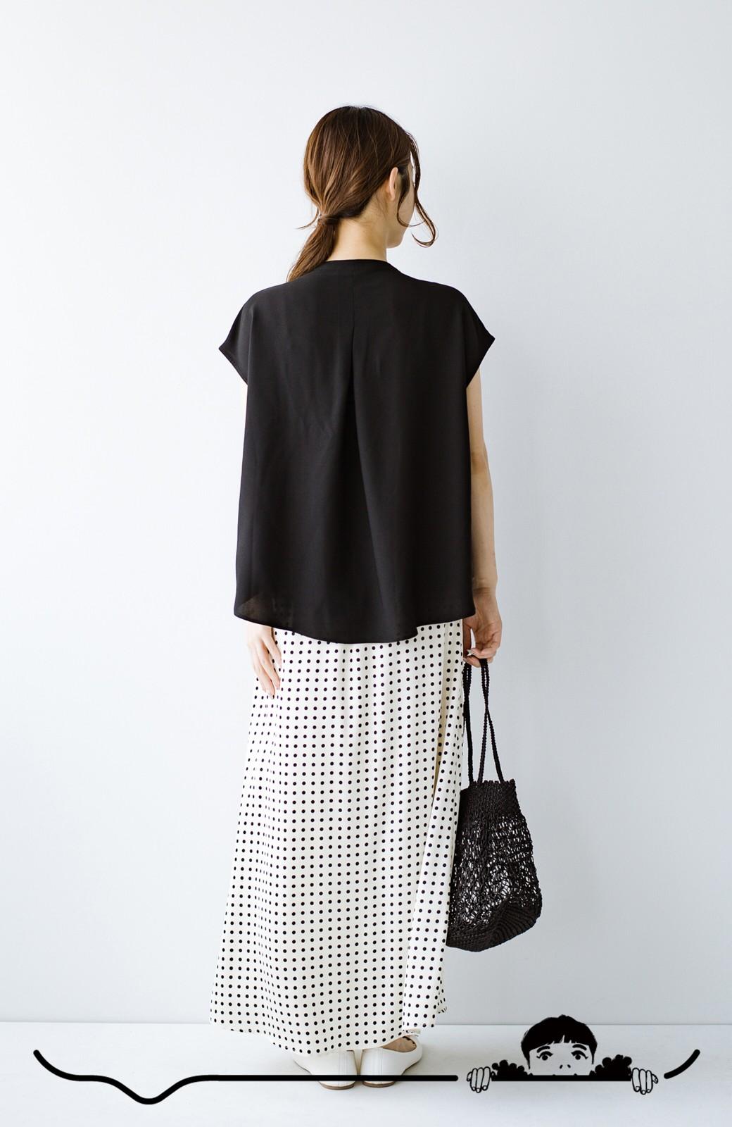 haco! Tシャツの代わりにこれを着といたら女っぽく上品になれる!ほんのり透け感が今っぽいピンタックブラウスby who made me <ブラック>の商品写真8