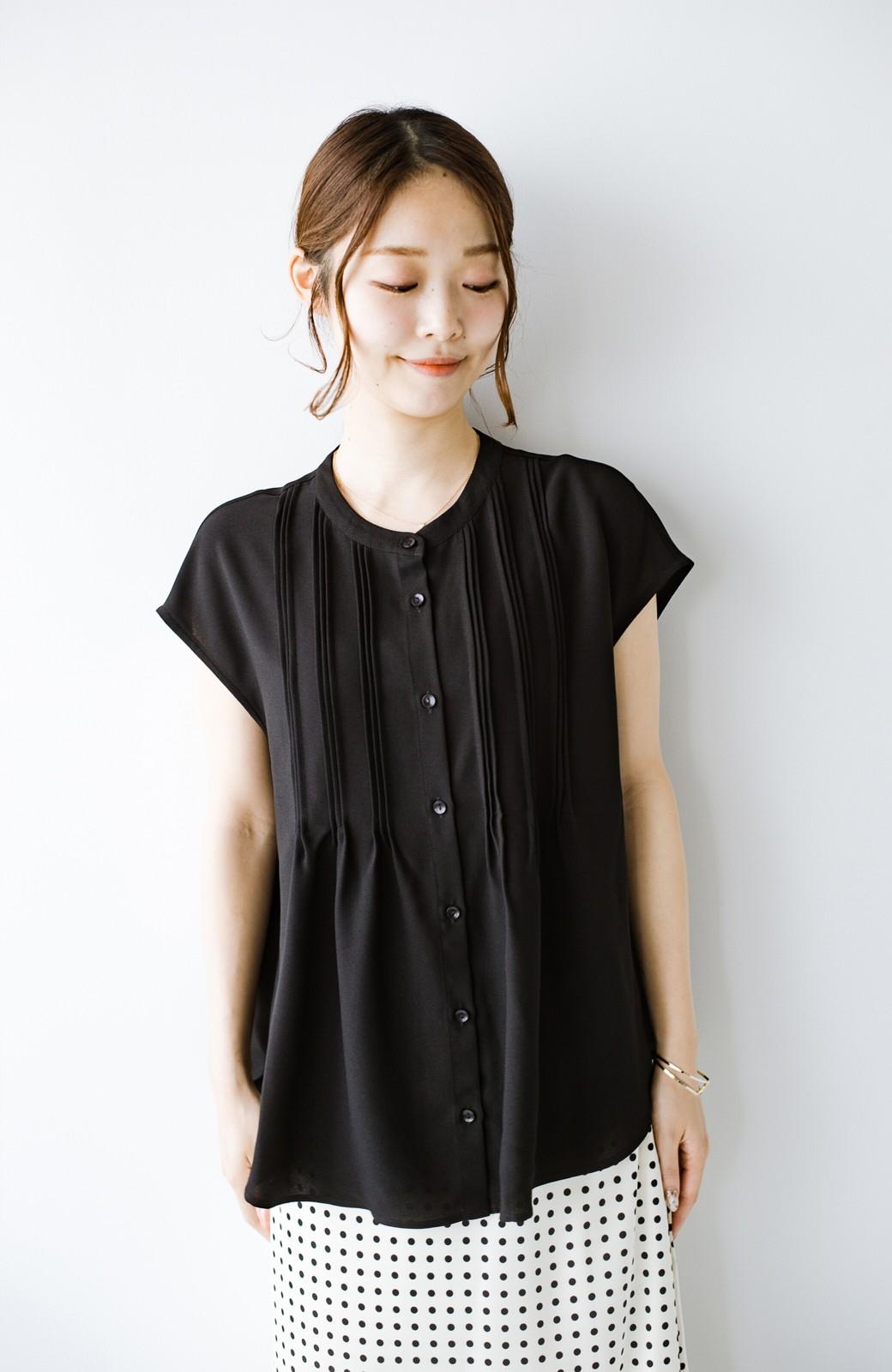 haco! Tシャツの代わりにこれを着といたら女っぽく上品になれる!ほんのり透け感が今っぽいピンタックブラウスby who made me <ブラック>の商品写真19