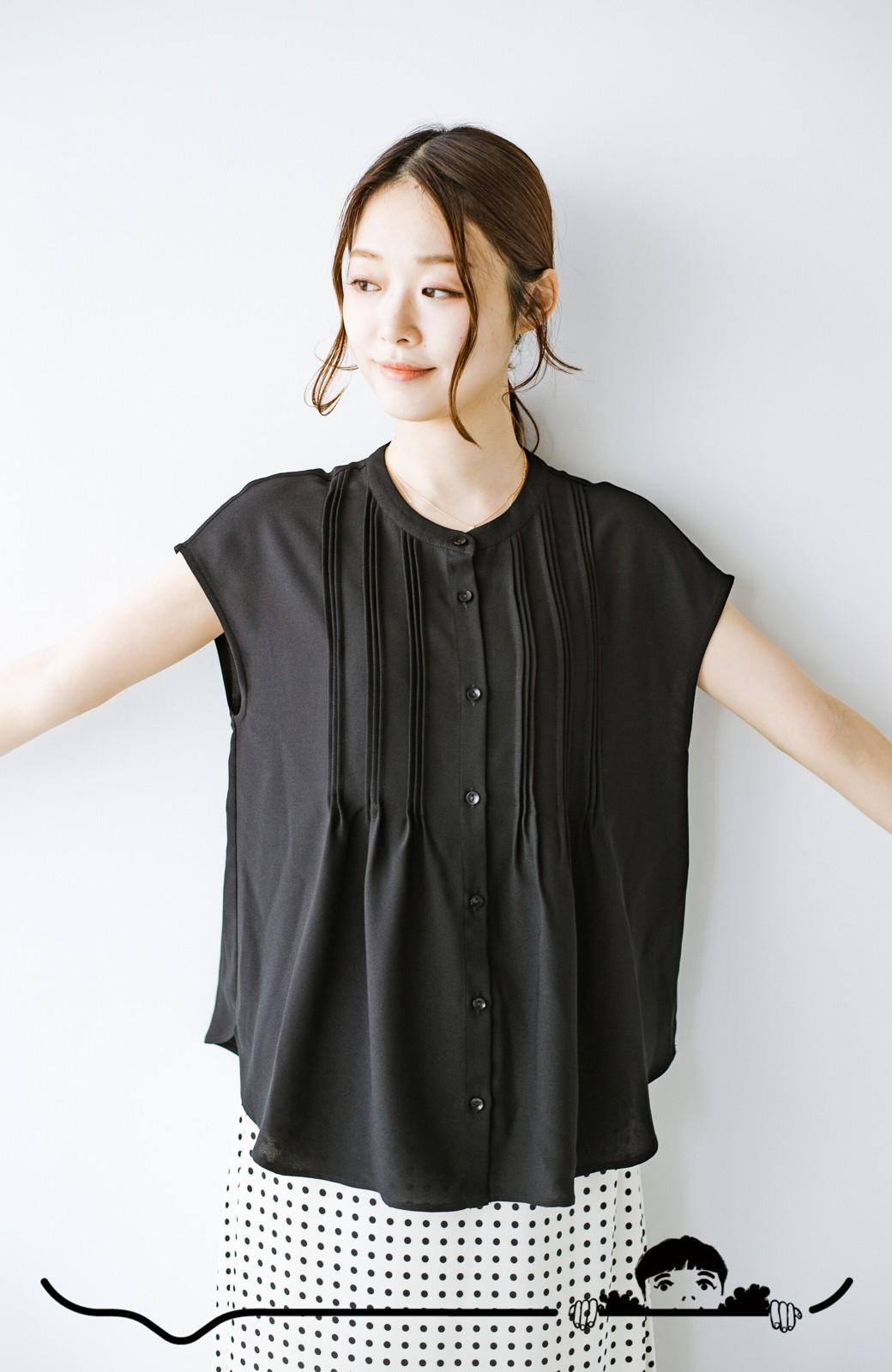 haco! Tシャツの代わりにこれを着といたら女っぽく上品になれる!ほんのり透け感が今っぽいピンタックブラウスby who made me <ブラック>の商品写真6