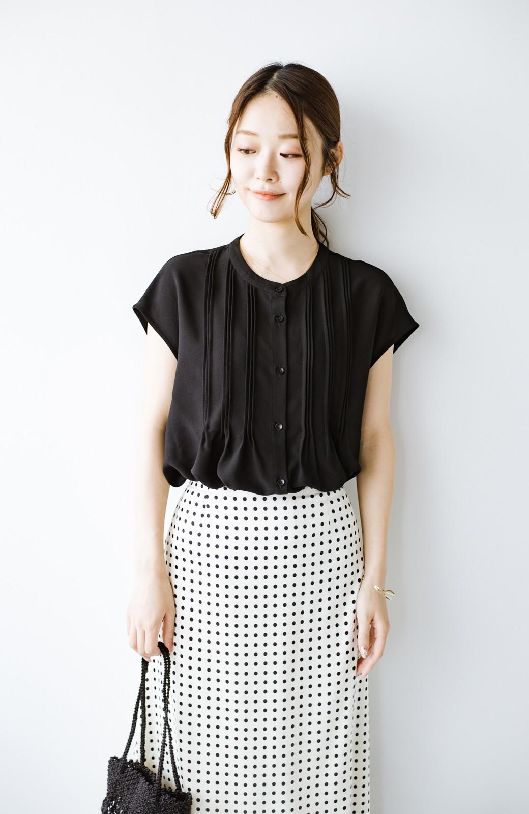haco! Tシャツの代わりにこれを着といたら女っぽく上品になれる!ほんのり透け感が今っぽいピンタックブラウスby who made me <ブラック>の商品写真17