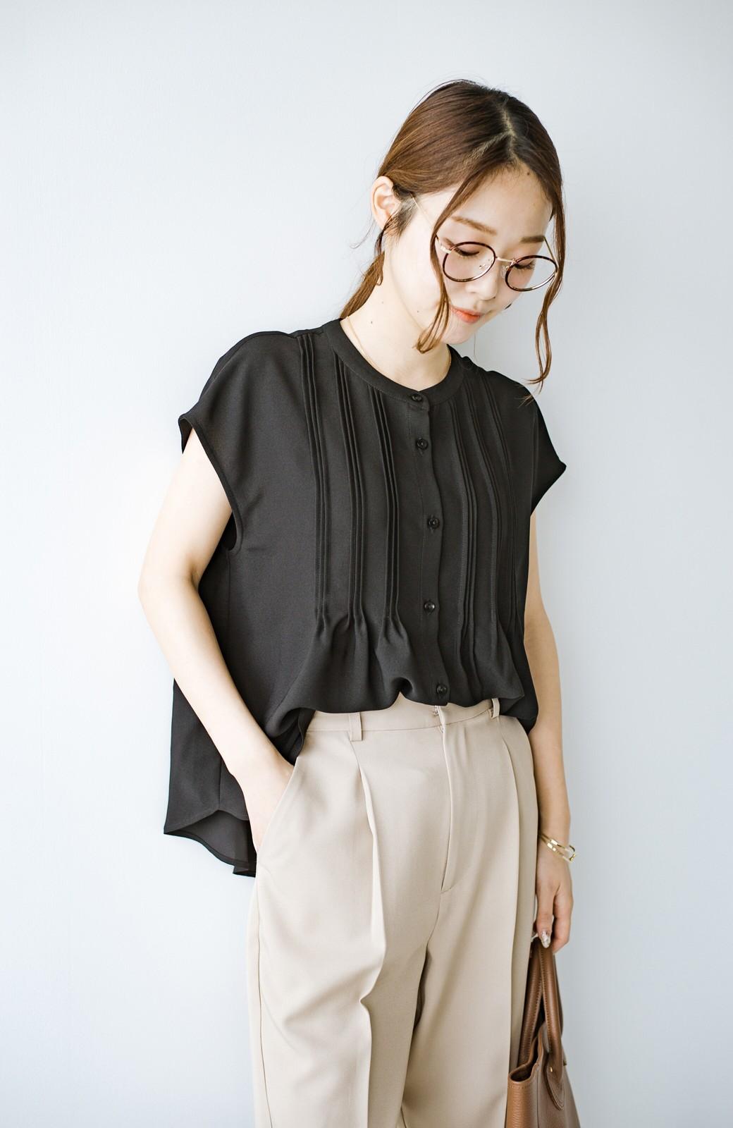 haco! Tシャツの代わりにこれを着といたら女っぽく上品になれる!ほんのり透け感が今っぽいピンタックブラウスby who made me <ブラック>の商品写真25