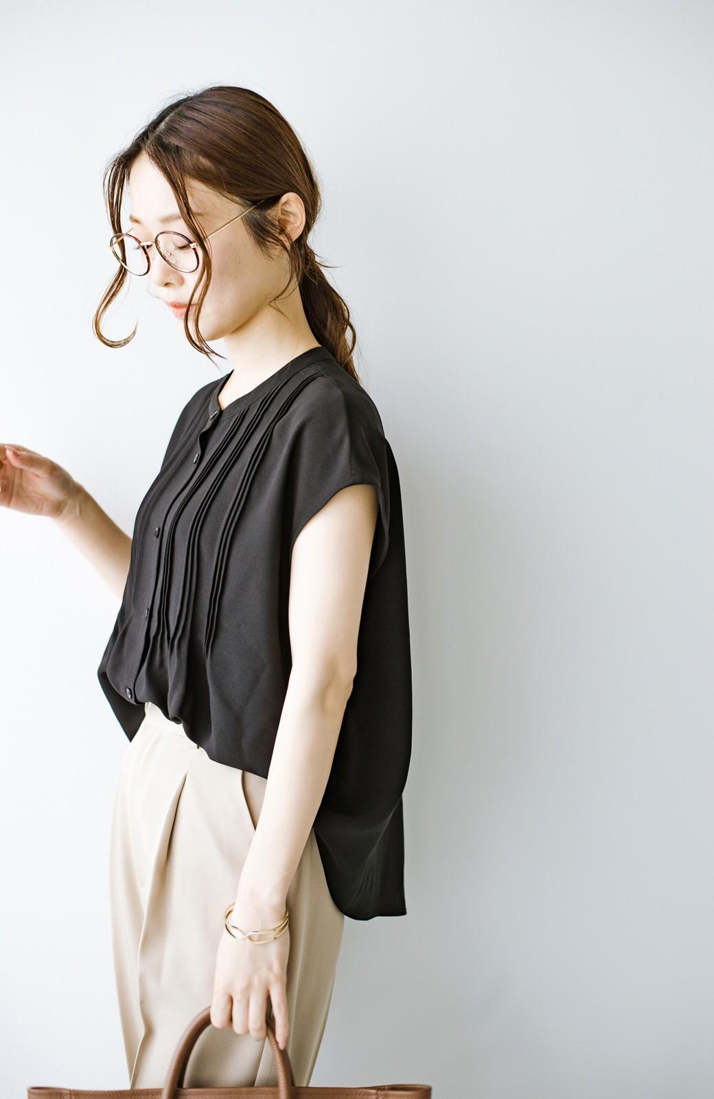 haco! Tシャツの代わりにこれを着といたら女っぽく上品になれる!ほんのり透け感が今っぽいピンタックブラウスby who made me <ブラック>の商品写真26