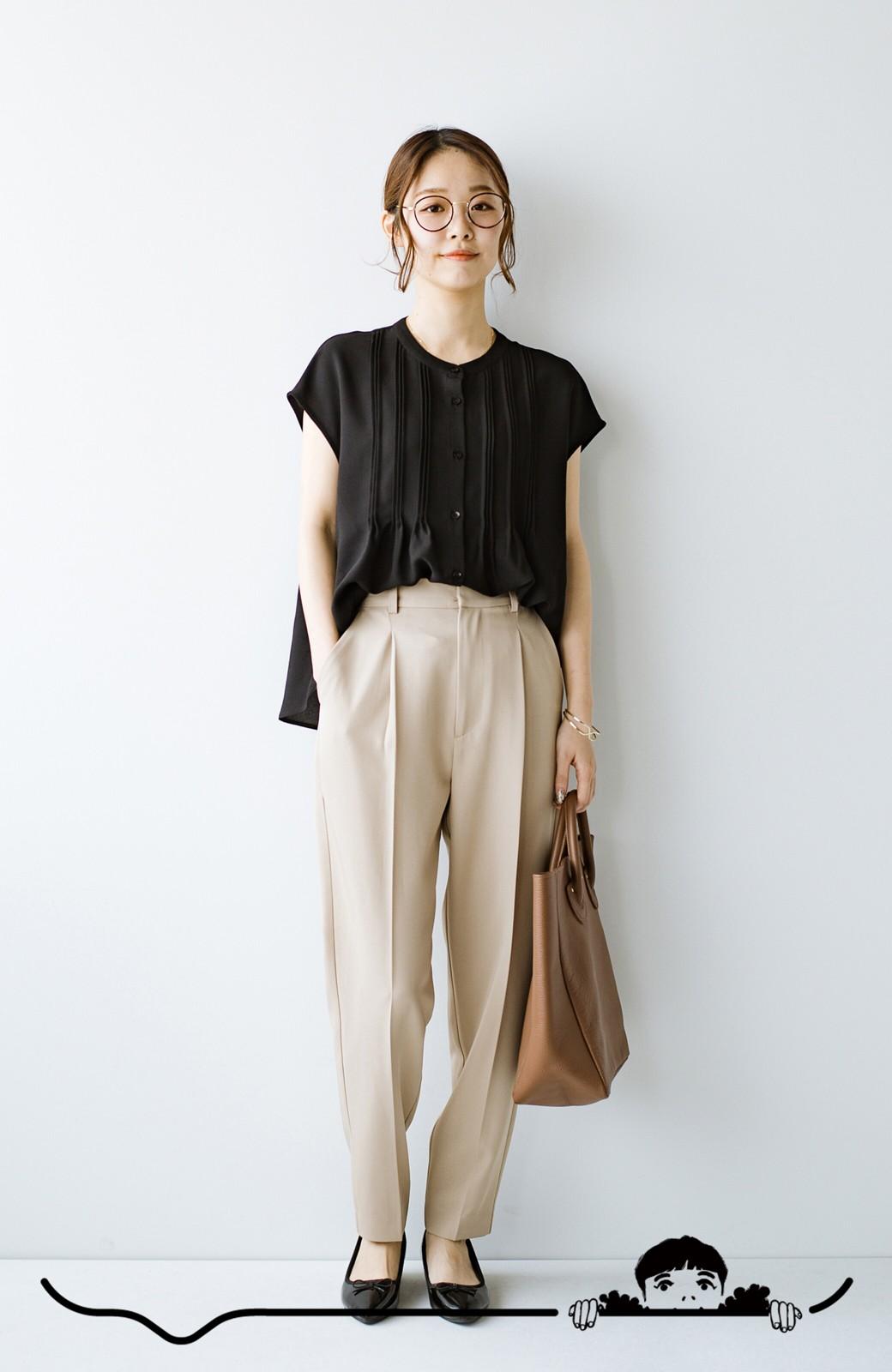 haco! Tシャツの代わりにこれを着といたら女っぽく上品になれる!ほんのり透け感が今っぽいピンタックブラウスby who made me <ブラック>の商品写真11