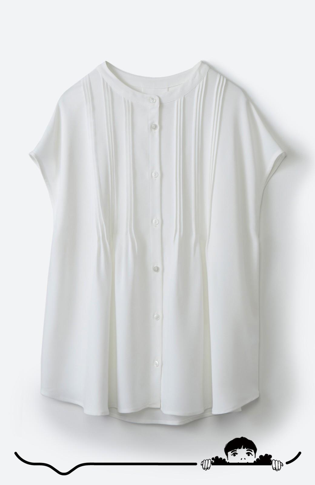 haco! Tシャツの代わりにこれを着といたら女っぽく上品になれる!ほんのり透け感が今っぽいピンタックブラウスby who made me <オフホワイト>の商品写真10