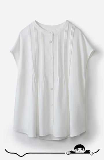 haco! Tシャツの代わりにこれを着といたら女っぽく上品になれる!ほんのり透け感が今っぽいピンタックブラウスby who made me <オフホワイト>の商品写真