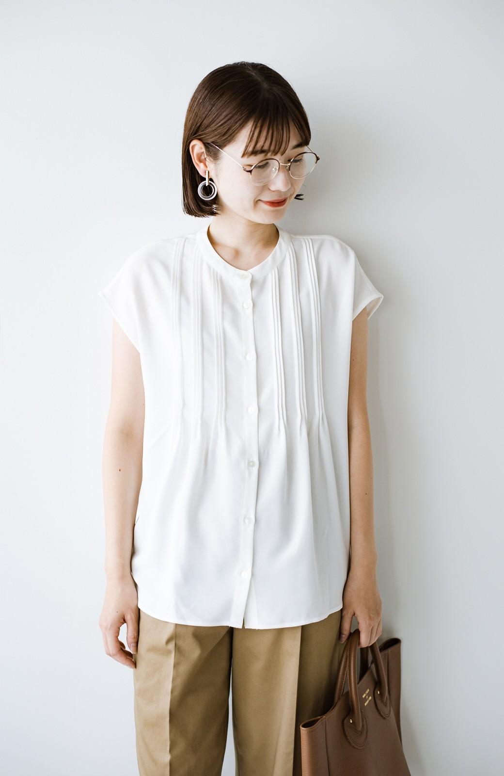 haco! Tシャツの代わりにこれを着といたら女っぽく上品になれる!ほんのり透け感が今っぽいピンタックブラウスby who made me <オフホワイト>の商品写真21
