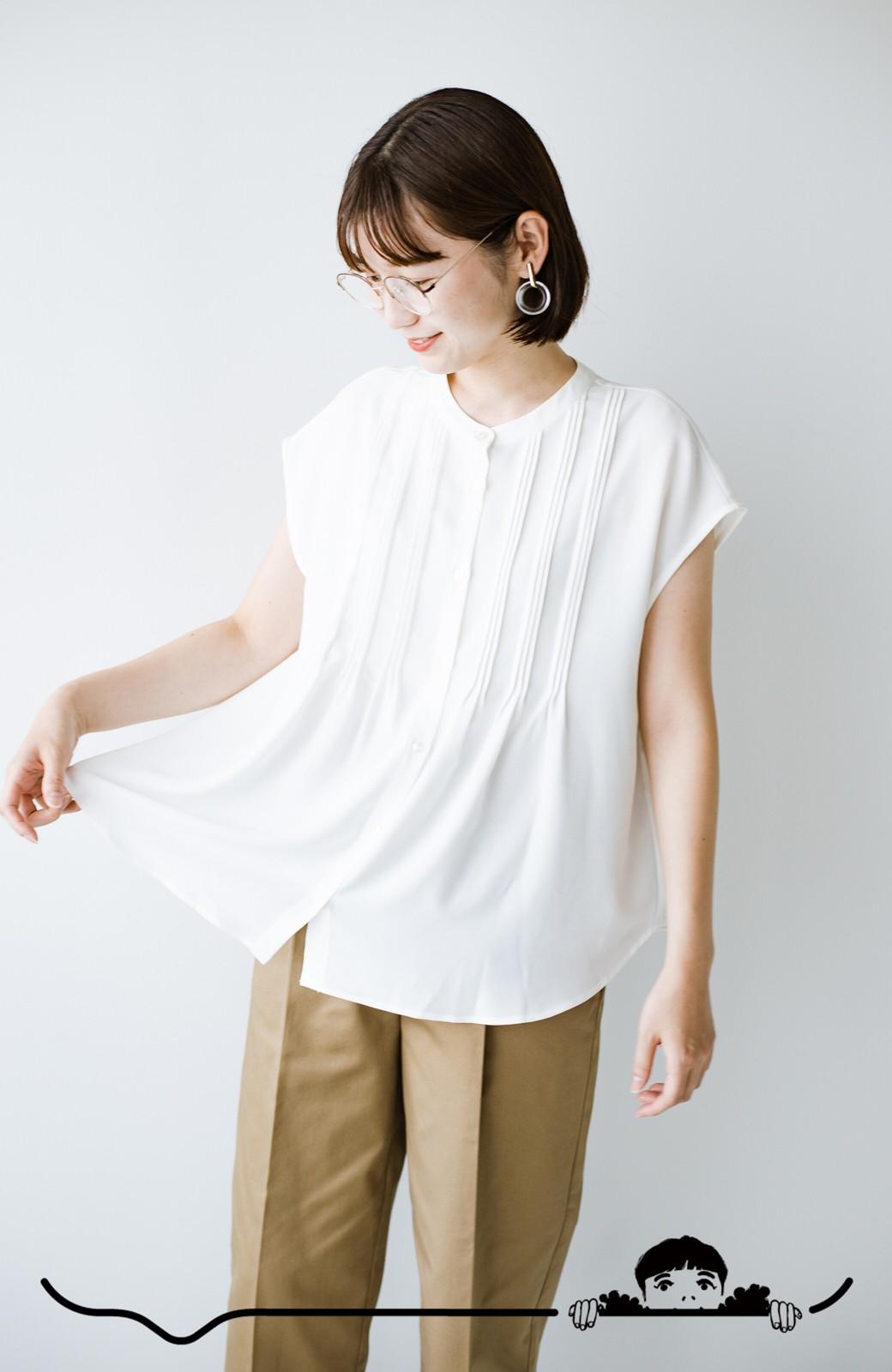haco! Tシャツの代わりにこれを着といたら女っぽく上品になれる!ほんのり透け感が今っぽいピンタックブラウスby who made me <オフホワイト>の商品写真4