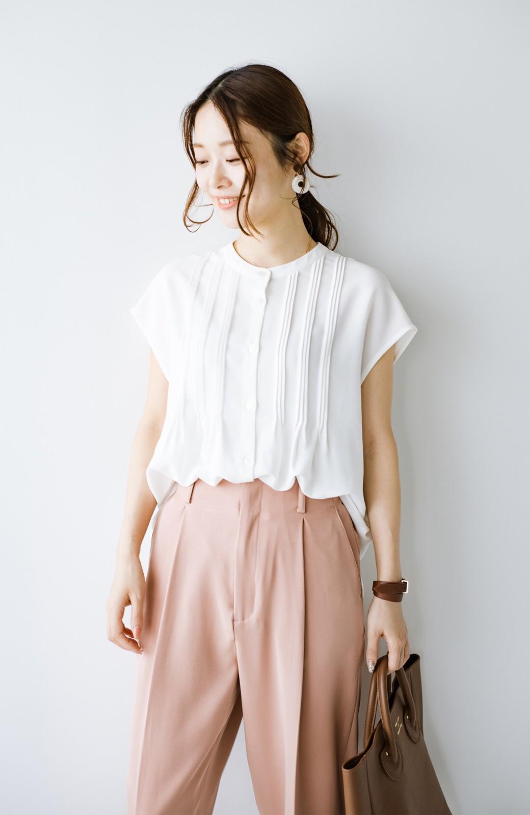 haco! Tシャツの代わりにこれを着といたら女っぽく上品になれる!ほんのり透け感が今っぽいピンタックブラウスby who made me <オフホワイト>の商品写真16