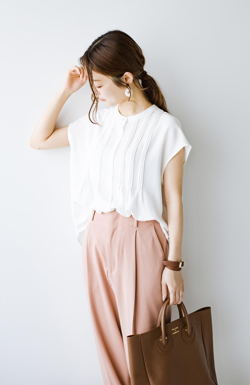haco! Tシャツの代わりにこれを着といたら女っぽく上品になれる!ほんのり透け感が今っぽいピンタックブラウスby who made me <オフホワイト>の商品写真17