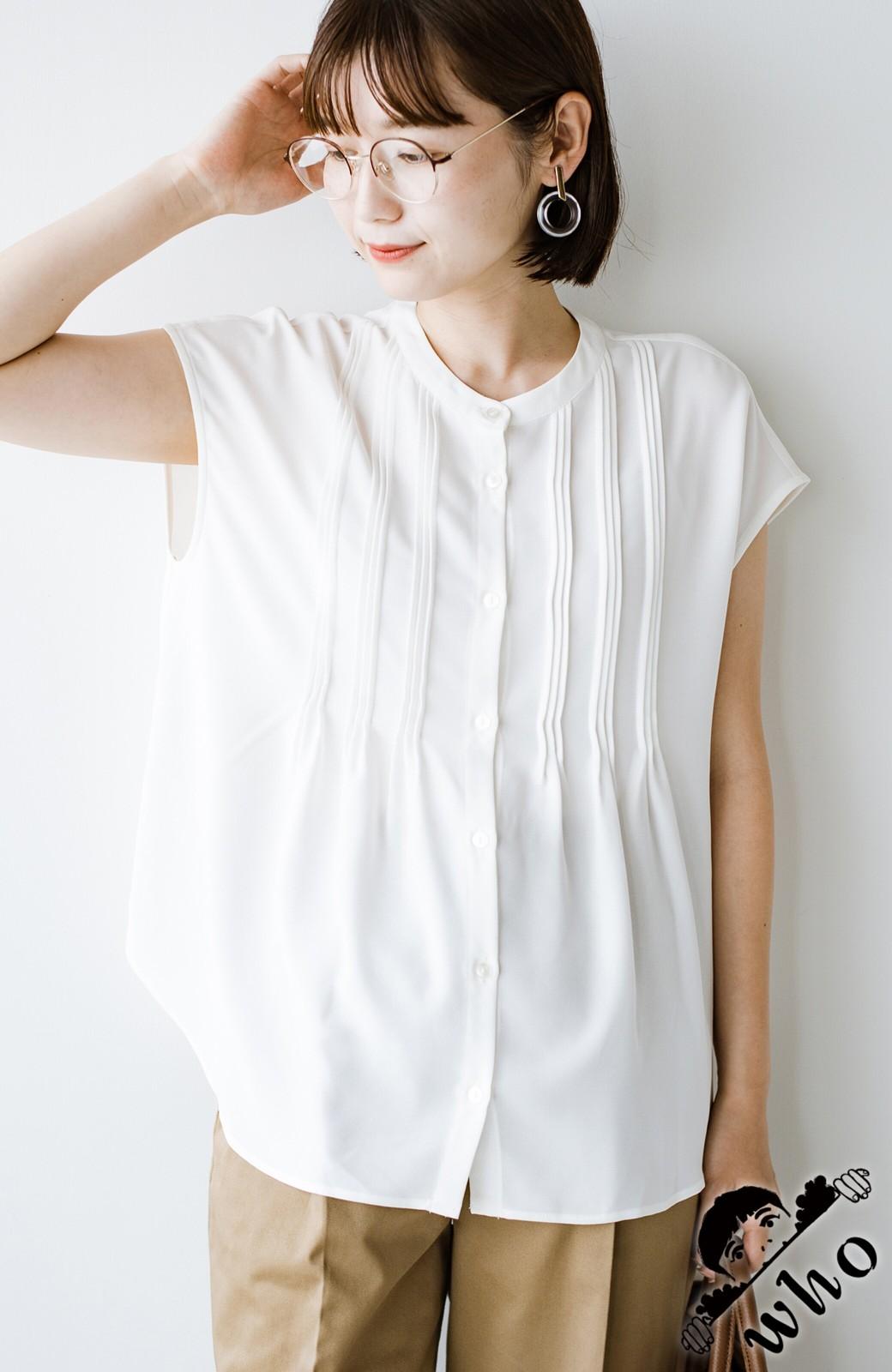 haco! Tシャツの代わりにこれを着といたら女っぽく上品になれる!ほんのり透け感が今っぽいピンタックブラウスby who made me <オフホワイト>の商品写真1