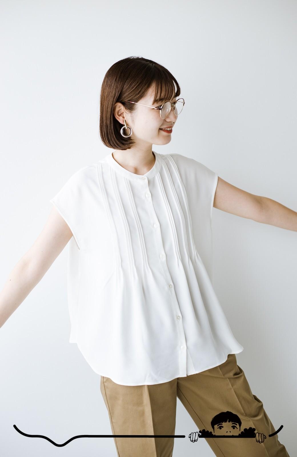 haco! Tシャツの代わりにこれを着といたら女っぽく上品になれる!ほんのり透け感が今っぽいピンタックブラウスby who made me <オフホワイト>の商品写真7
