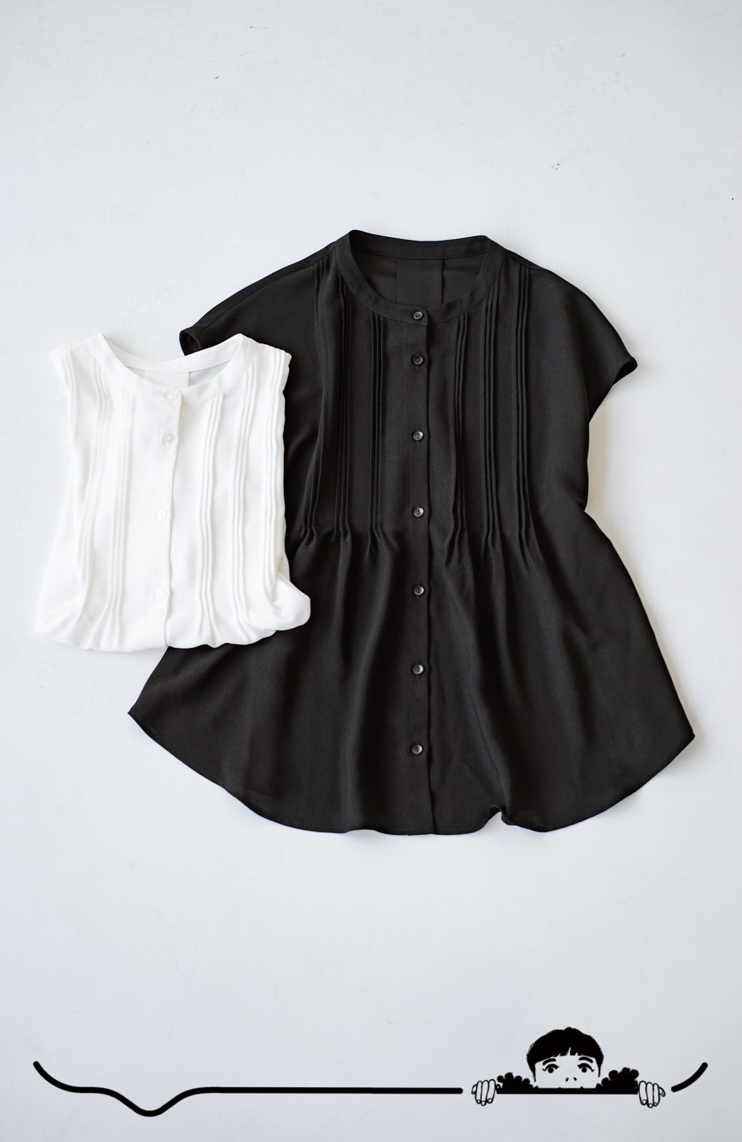 haco! Tシャツの代わりにこれを着といたら女っぽく上品になれる!ほんのり透け感が今っぽいピンタックブラウスby who made me <ブラック>の商品写真13